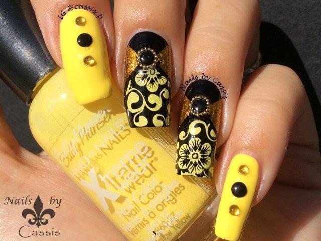 Yellow Flower Stamping Nail Art