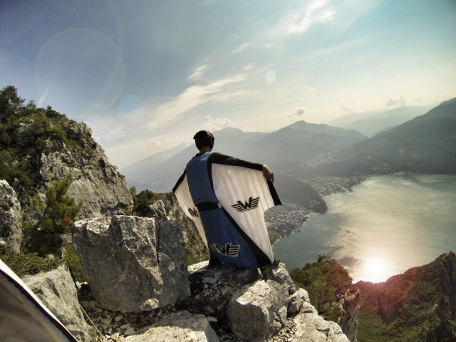 Crazy Wingsuit Flight -- Man Lands on Water Without Parachute?