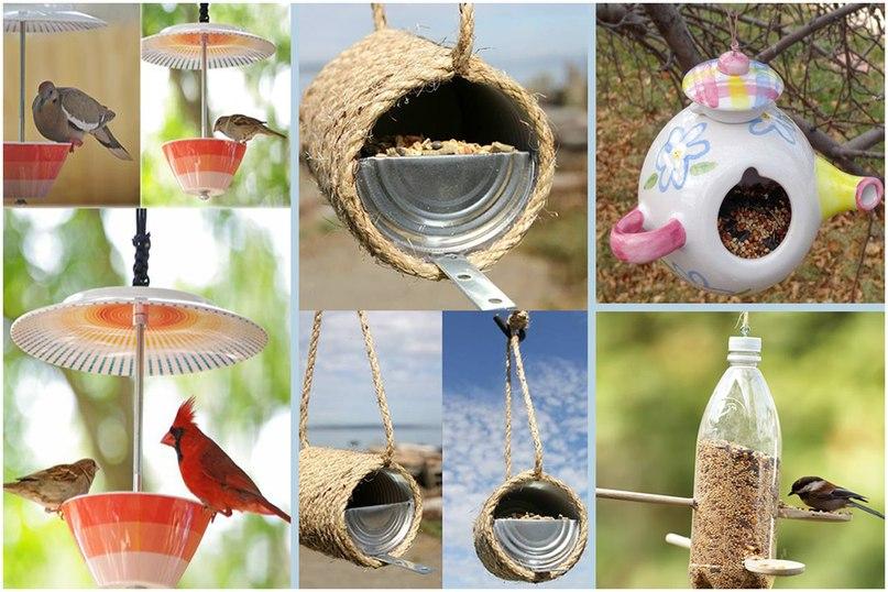 Оригинальные идеи. Как сделать кашпо из люстры, кормушки для птиц и украсить цветочный горшок-кормушки для птиц