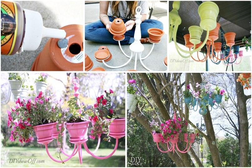 Оригинальные идеи. Как сделать кашпо из люстры, кормушки для птиц и украсить цветочный горшок-кашпо из люстры