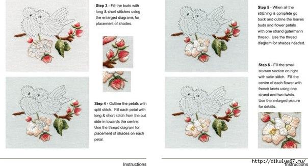 Схема для вышивки гладью птичка