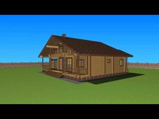 Проект дома из клееного бруса 14х10.5 в стиле шале.