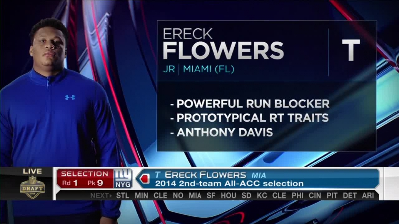 2015 NFL Draft Round 1 New York Giants pick offensive lineman Ereck Flowers No 9