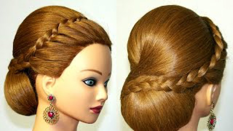 Hairstyle for medium long hair, bun updo with french braid