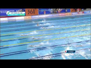 2014 Asian Games Men's 200m Free FINAL Hagino vs Park vs Yang