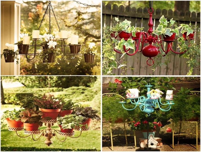 Оригинальные идеи. Как сделать кашпо из люстры, кормушки для птиц и украсить цветочный горшок