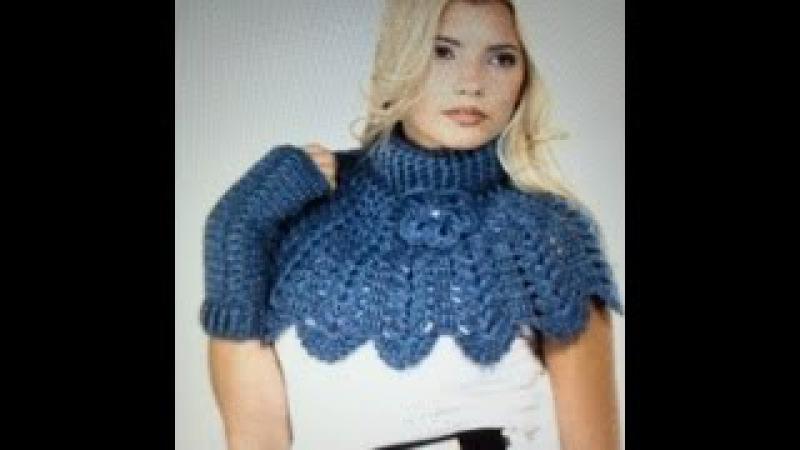 Вязаные манишка и митенки. Crochet knit shirt front