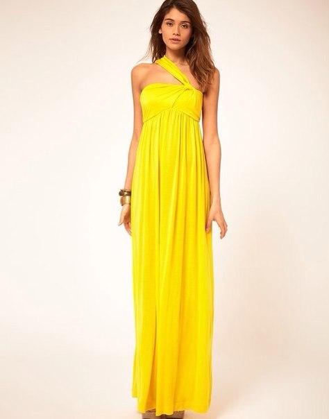Платья жёлтые в пол