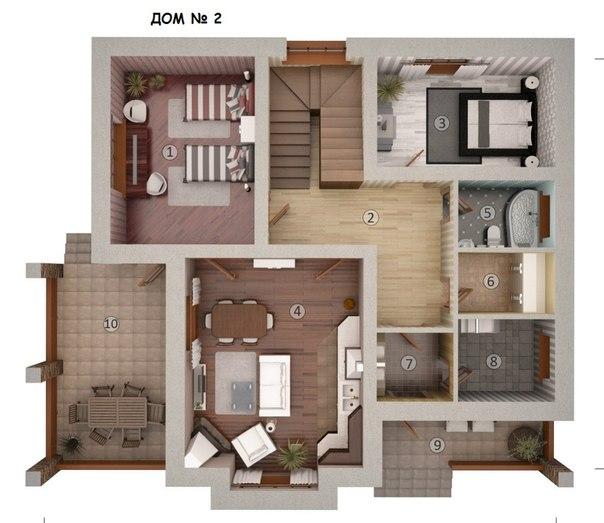 Внутреннее расположение комнат в доме фото