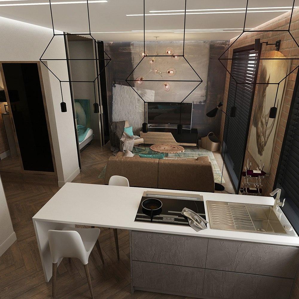 Концепт квартиры 40 м для молодого человека.