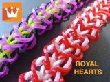 Плетение из резинок браслет Королевские сердца на рогатке Weaving Loom Bands bracelet Royal heart