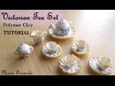 Miniature Victorian Tea Party Tea Set Crockery Polymer Clay TUTORIAL Maive Ferrando