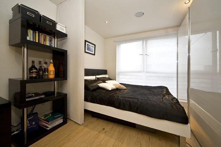 Интерьер прямоугольной квартиры-студии 26,5 м, ширина комнаты 3 м.
