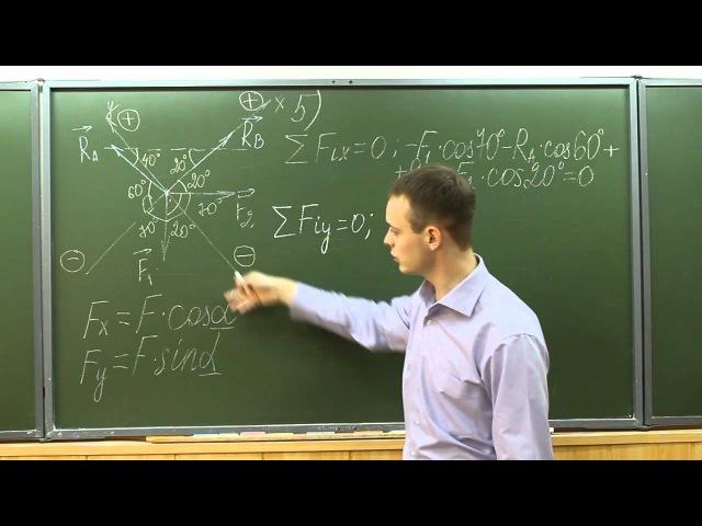 Видеоурок 1. Определение реакций жёстких стержней.