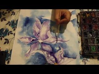 Рисуем орхидеи / акварель, карандаши, черная ручка / Анастасия Мурлыканова