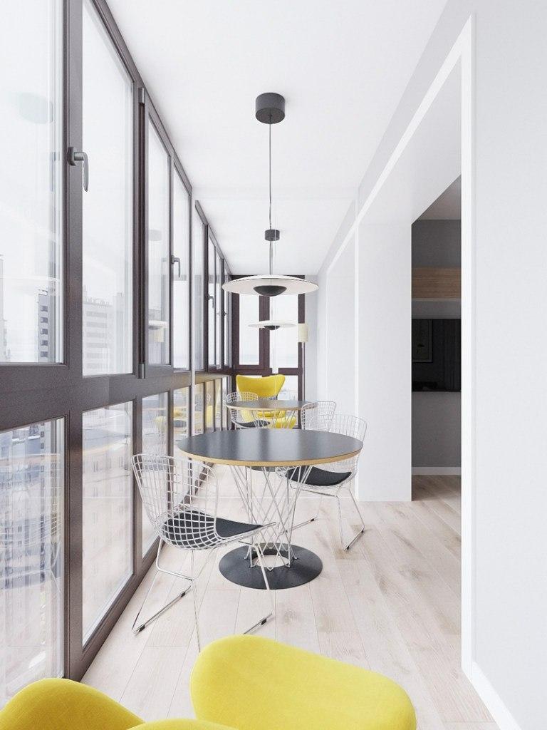 Концепт вытянутой студии 37 м с разворотом кухни и спальней на ее месте.