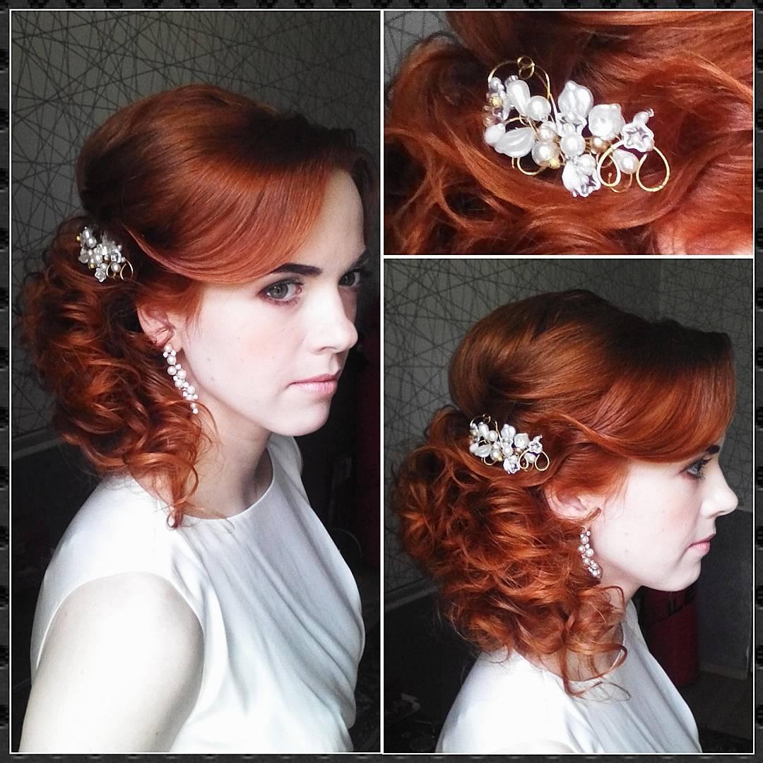 Прически свадебные на средние волосы рыжие