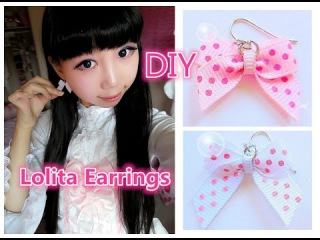 Cute DIY -  Very Easy Way to Make Cute Earring and Tiny Bows -  Lolita Fashion