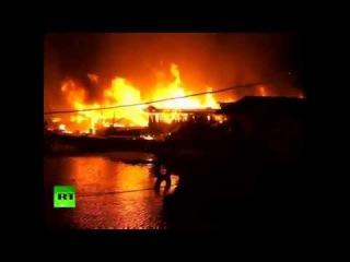 В доке китайской провинции Аньхой произошел крупный пожар