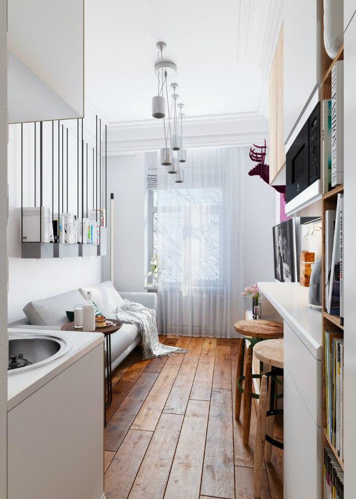 Чудесный проект маленькой квартиры-студии всего 15 м.