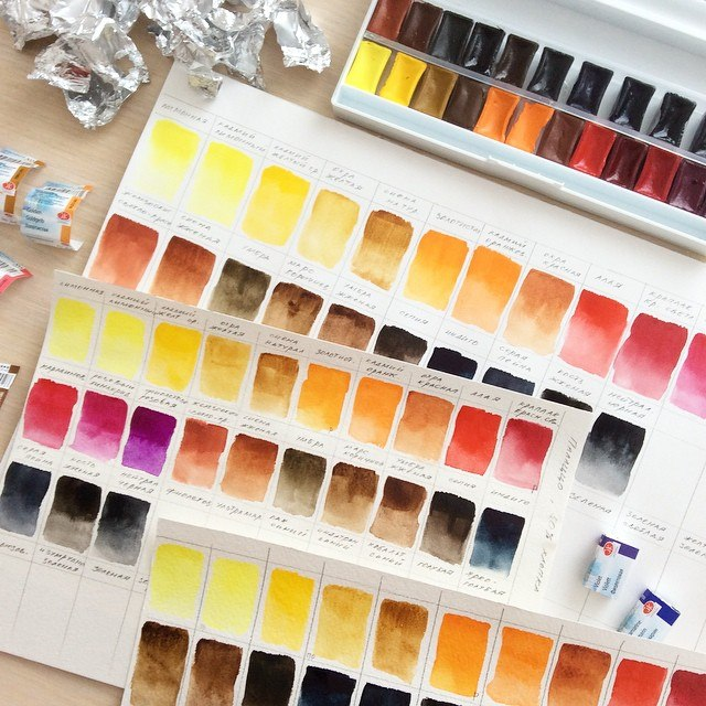 тестирование акварельных красок Невская палитра