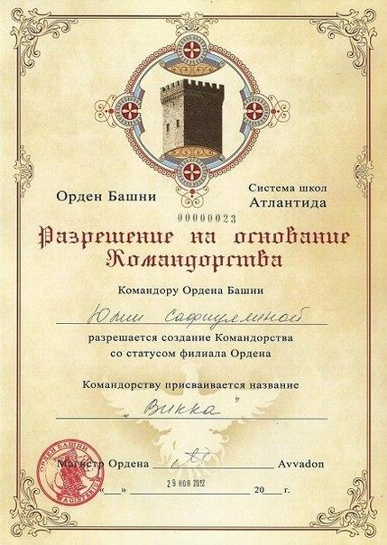 Разрешение Руководителя Школы на открытие Командорства Рубедо.