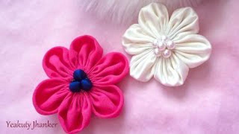 DIY: Six petal Kanzashi fabric flower hair clip.