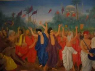 Слёзы любви Гаура-Нитай. Новая картина (цветочные гирлянды нарисовал позже)