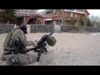 Стрельба из АГС. Война в Украине. Чеченские добровольцы.