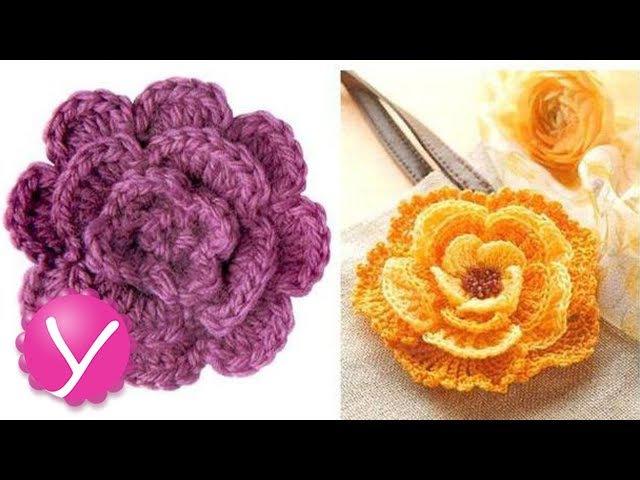 Вязание крючком. Вязание двухслойного цветка