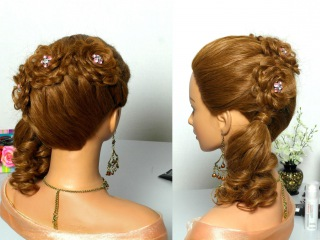 Праздничная прическа с цветами из ажурных кос для длинных волос.
