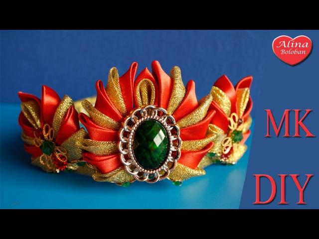 Новогодняя Корона Роксолана Канзаши / Crown kanzashi Roksolana hair bow. DIY