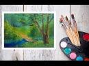 Видео урок Рисуем Гуашью Летний пейзаж №3 Dari Art