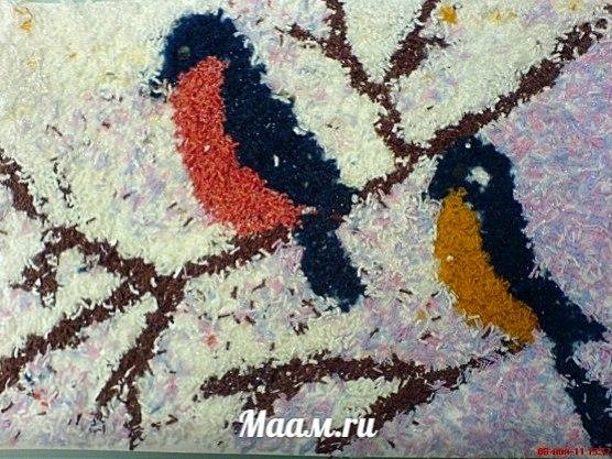 Аппликация из ниток шерсти Снегири и синицы прилетели из публикации мурманского педагога Натальи Саз… (1 фото) - картинка