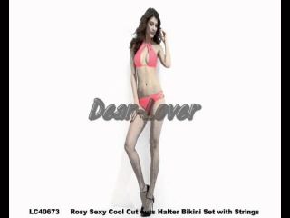 Dear-Lover Sexy Cool Cut outs Halter Bikini Set with Strings Wholesale