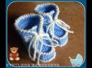 Голубые пинетки спицами. Часть 2. knitting booties for the baby
