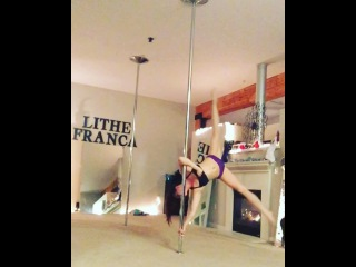 "Lindsay Lithe on Instagram: ""Working on a combo at home tonight. Full combo on my FaceBook FaceBook.com/LindsayLithePole ❤️💘💕 #pole #poledance #poledancing #lindsaylithe"""