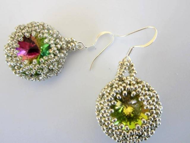 Lace beaded Earrings rivoli 20mm