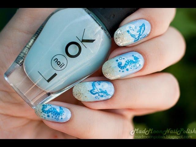 ✧ Морской маникюр с лаками NailLook Bora Bora и стемпингом Konad✧