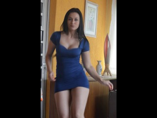 (Instant Sizzling!!) Hot Babe in a Tight Blue Dress that Accentuates Gorgeous Dancing Hips