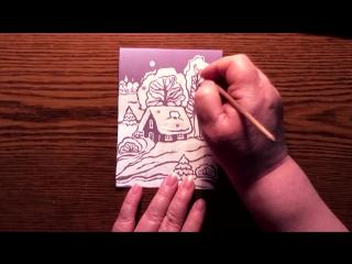 Быстрое Рисование | Новогодняя Открытка | Зимний Домик | Гуашь
