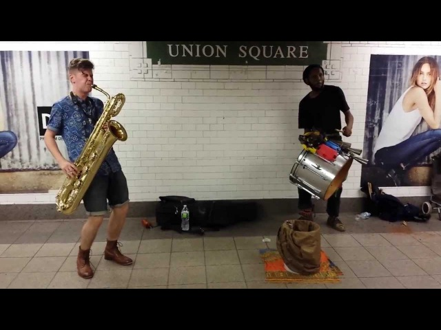 TOO MANY ZOOZ Baritone Saxophone and Drummer Duo Street Performance in NYC Union Square Subway