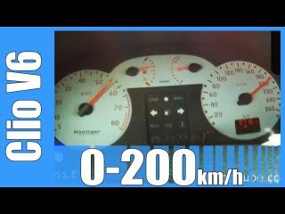 Renault Sport Clio 3.0 V6 Acceleration 0-200 km/h LOUD! Beschleunigung