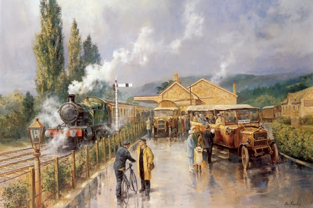 На картинах Алана поезда могут быть и главными героями, и второстепенными. Но они всегда есть живыми, одушевленными, полноправными партнерами людей.