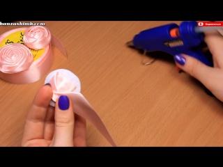 Как сделать розу из атласной ленты для свадебного букета Мастер класс - DIY Satin Ribbon Rose