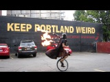 Unicycling Darth Vader upgrades to Flaming Bagpipes - Keep Portland Weird - The Unipiper Official