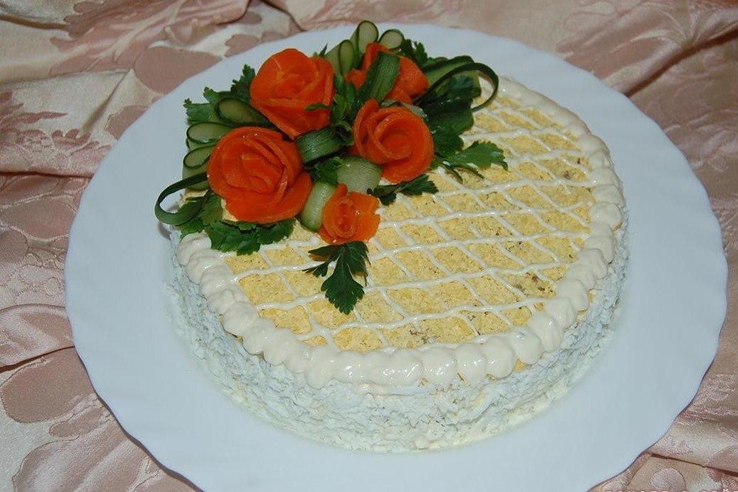 Праздничный салат торт с