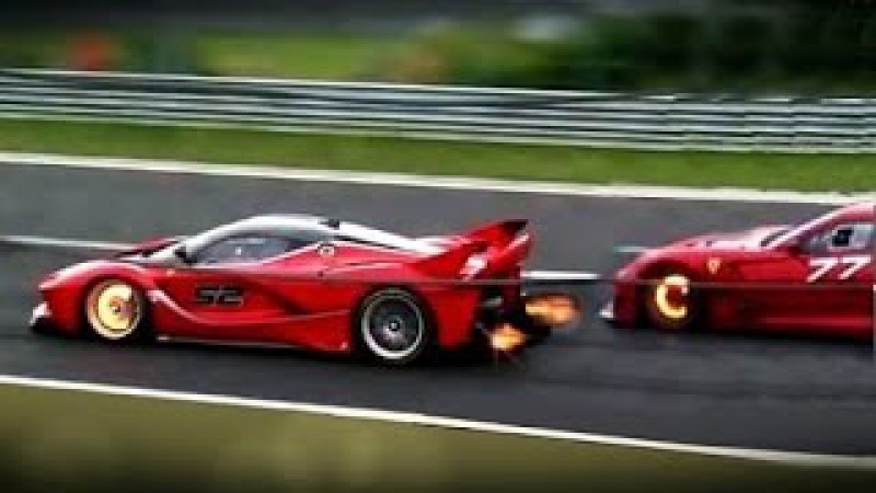 Ferrari FXX-K and 599XX -PURE SOUND Glowing Brakes Shooting Flame!