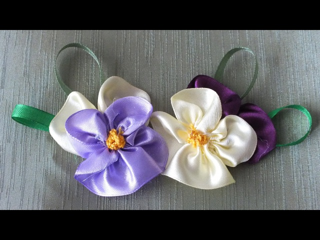 цветок Анютины глазки из лент за 5 мин Quick Easy Satin Ribbon Flower Tutorial