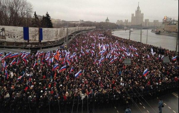 Акция в память о Борисе Немцове. Москва 1 марта 2015